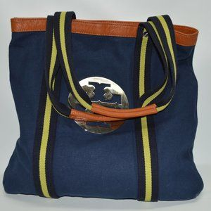 Tory Burch Large Navy Canvas Logo Tote Bag